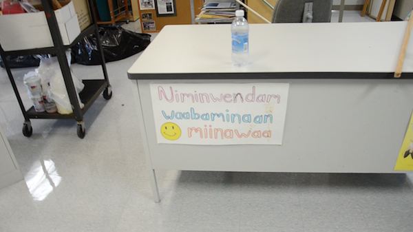 Ojibwe signs on school objects help teach and reinforce language