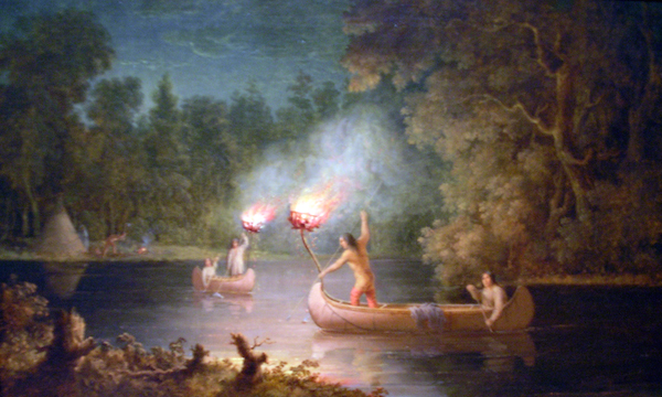 Paul Kane's depiction of canoes on the Fox River, with large torches mounted on the prows and men standing with spears in the center