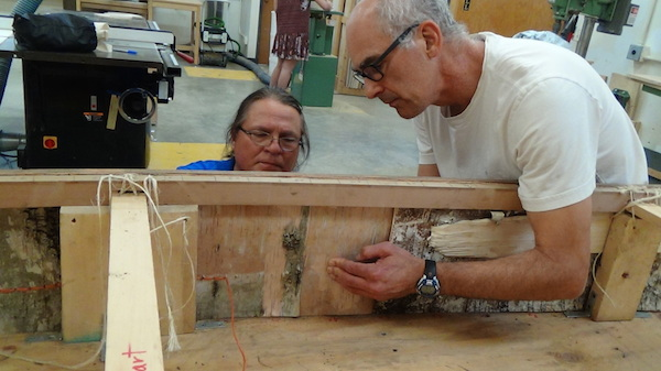 Wayne and Tom Loeser sewing side panels