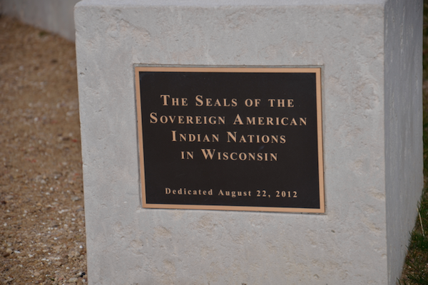 plaque on Dejope fire ring, commemorating the sovereign nations of Wisconsin